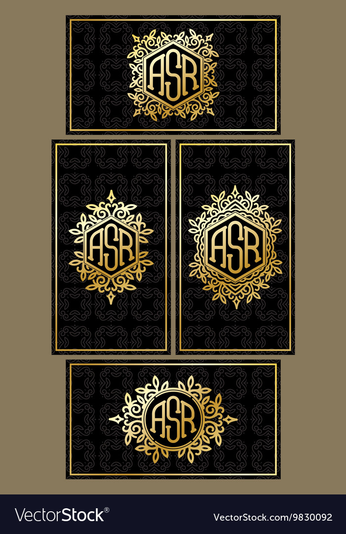 Set templates of business cards on black