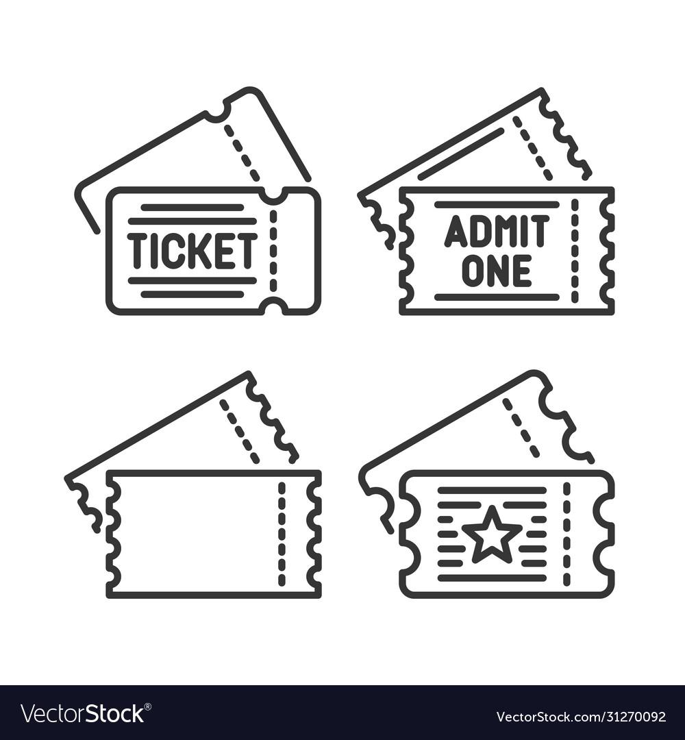 Ticket icons set on white background line style