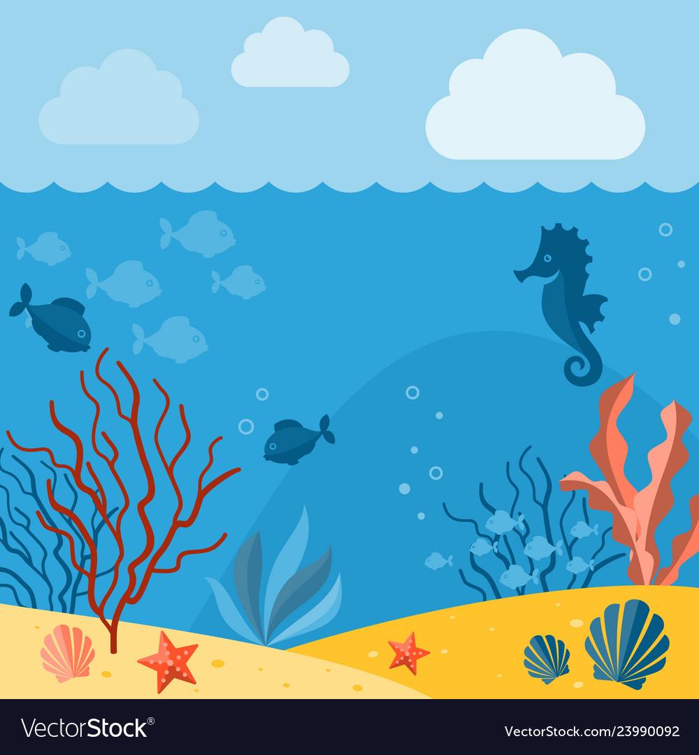 Underwater background background with marine