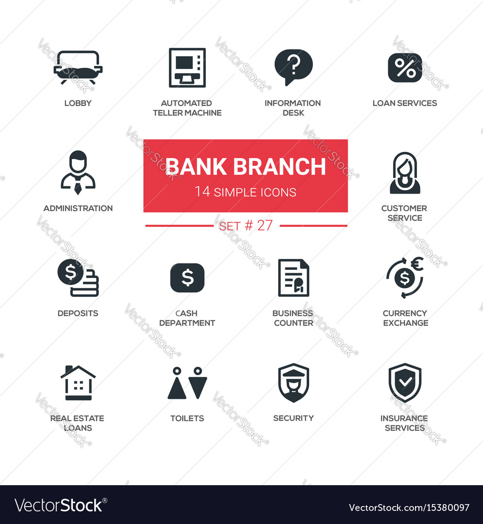 Bank branch - modern simple icons pictograms set vector image