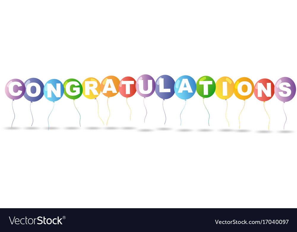 colorful balloons and word congratulations vector image