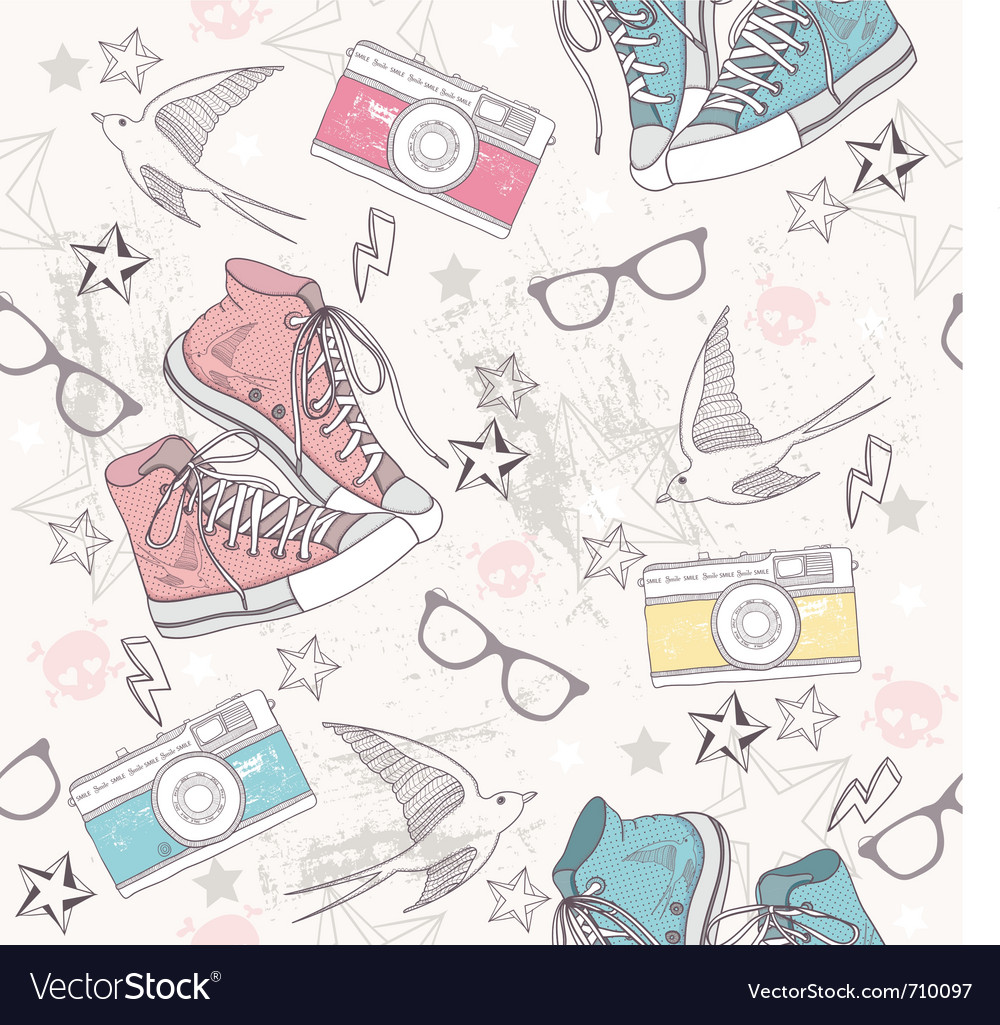 Cute grunge abstract seamless fun pattern vector image
