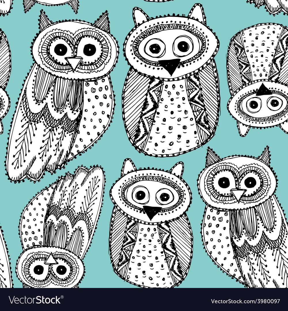 Decorative Hand dravn Cute Owl Sketch Doodle black