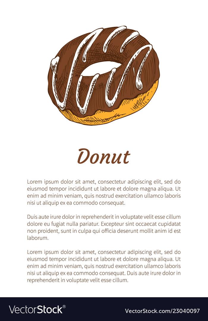 Donut sweet dessert glazed with chocolate cream