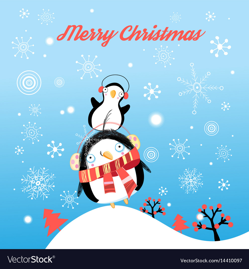 Funny christmas card with penguins vector image