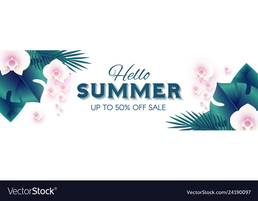 Hello summer tropical design template with palm
