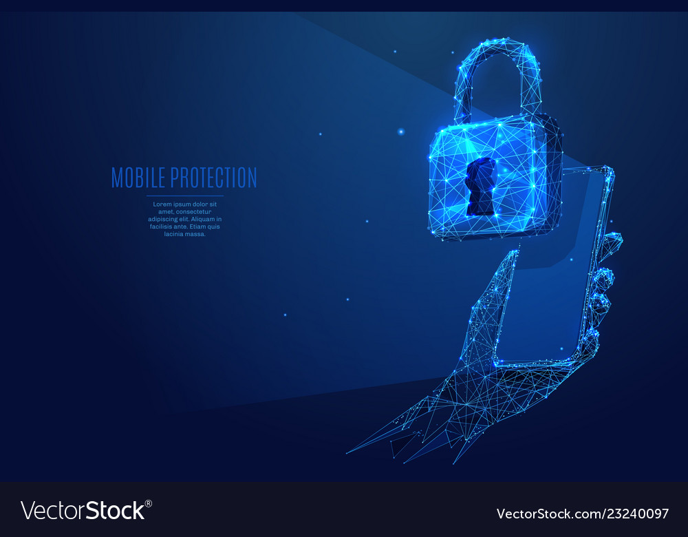 Lock and phone in hand low poly
