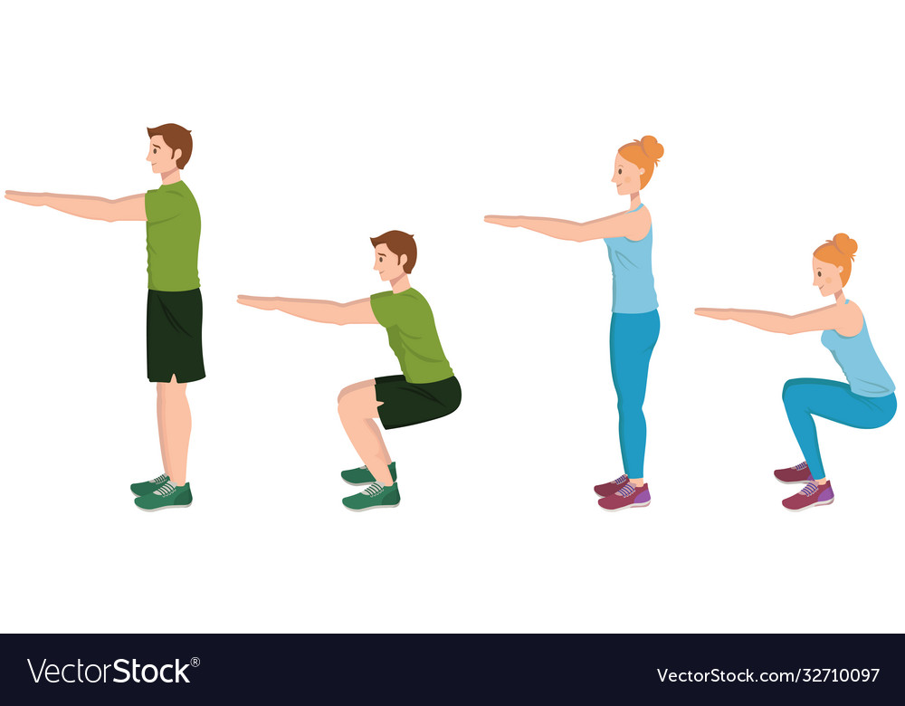 Man and woman doing squats