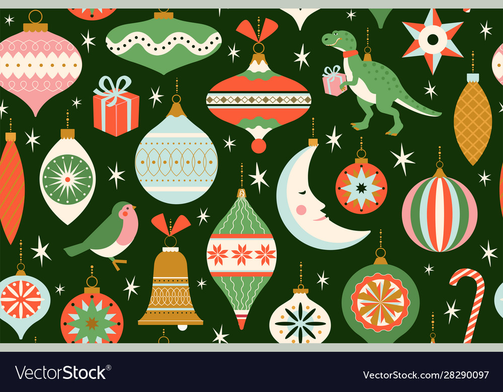 Merry christmas and new year card with various