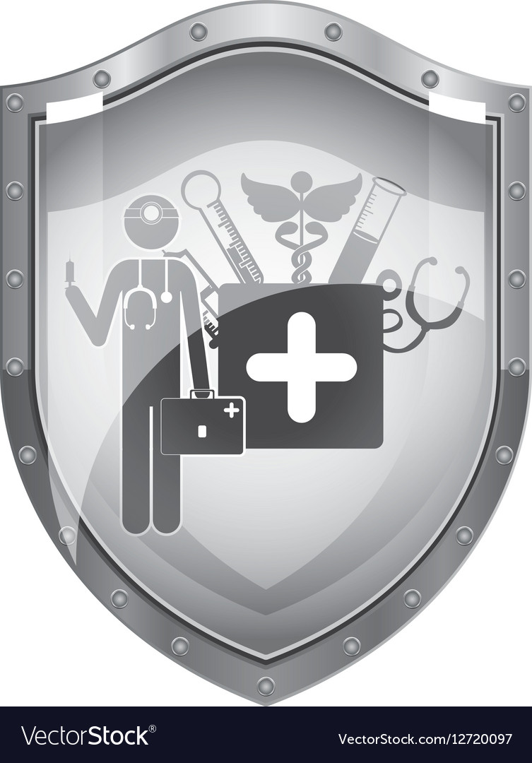 Metallic shield of doctor with medical tools