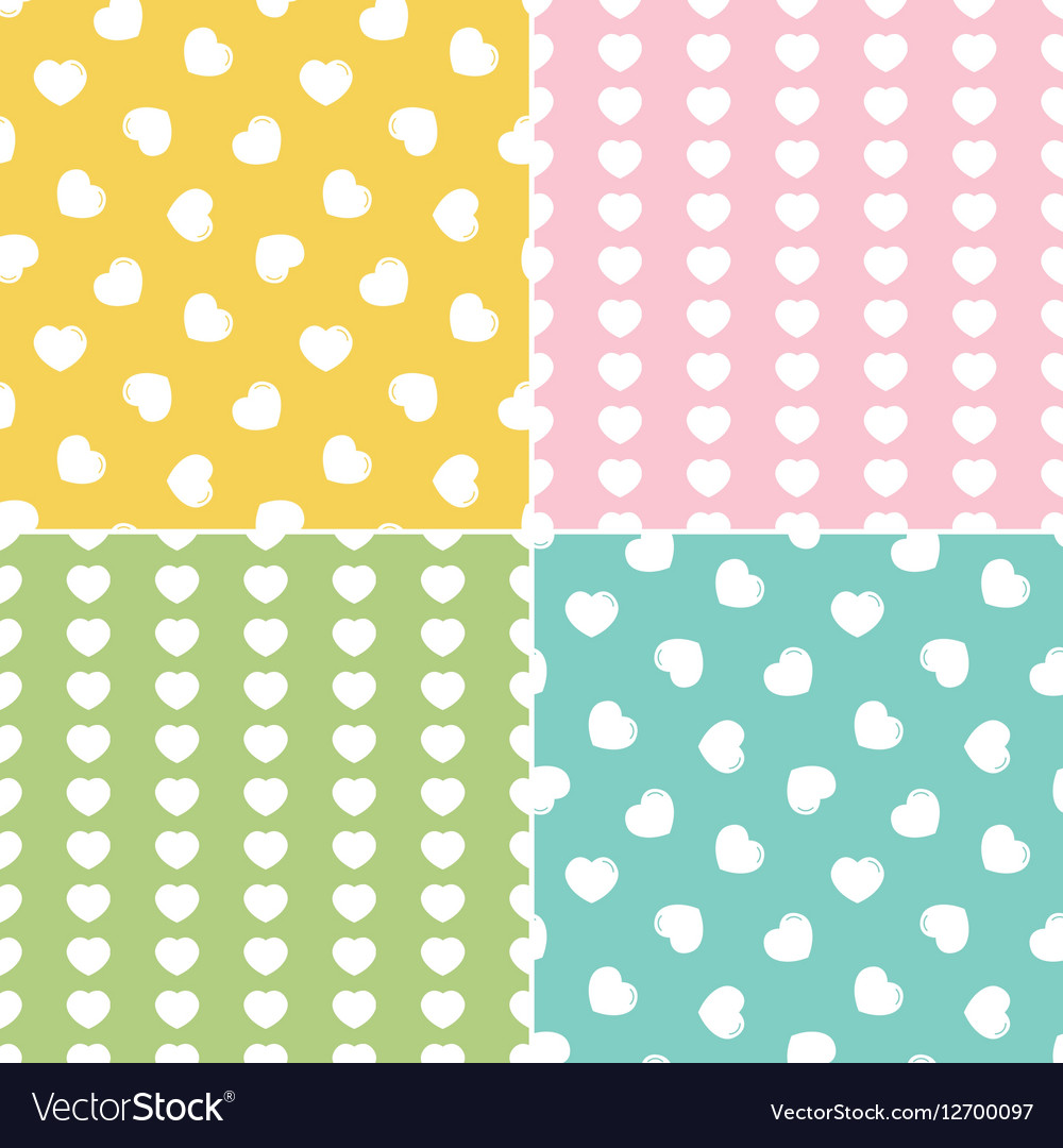 Set collection of seamless patterns with hearts