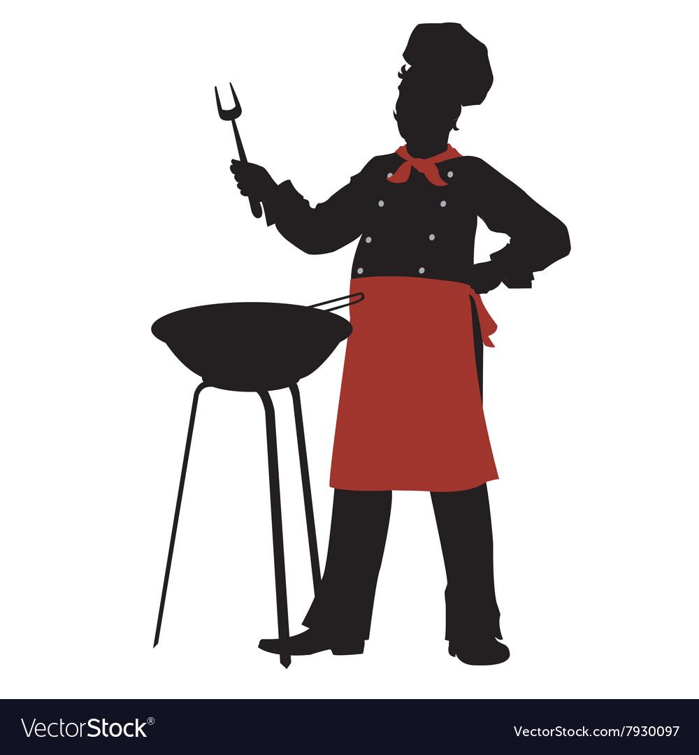 Silhouette chef cooks barbecue steaks