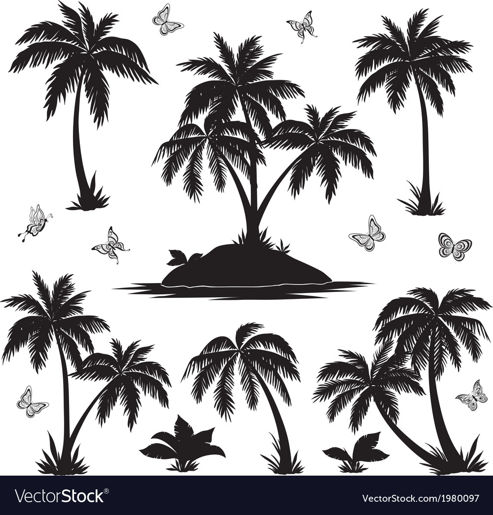Tropical island palms and butterflies silhouettes