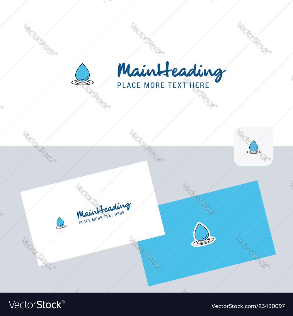 Water Drop Logotype With Business Card Template Vector Image
