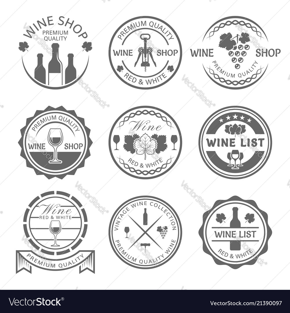 Wine shop and wine list monochrome labels