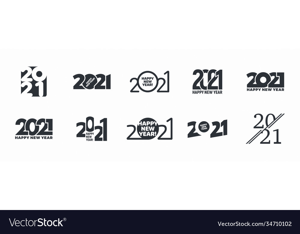 2021 happy new year logo different variations on