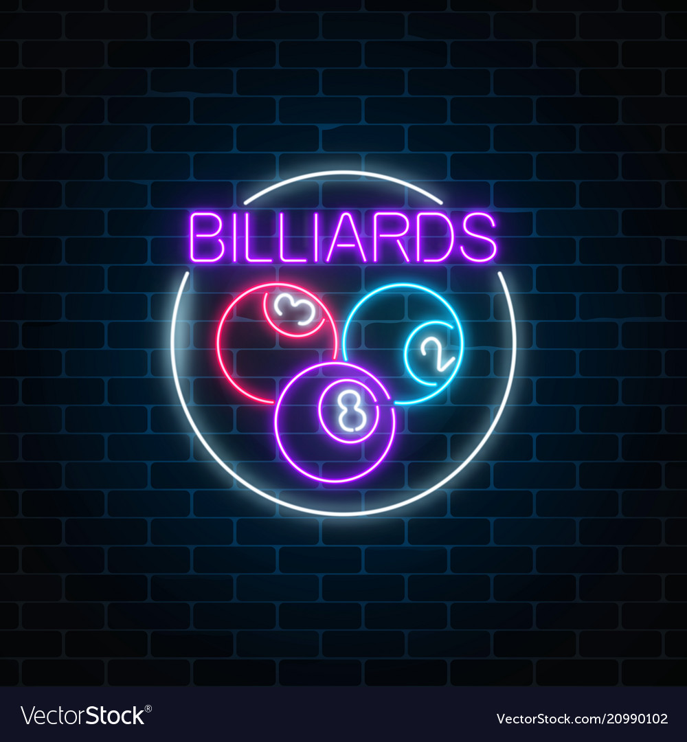 Billiard balls in circle frame in neon style