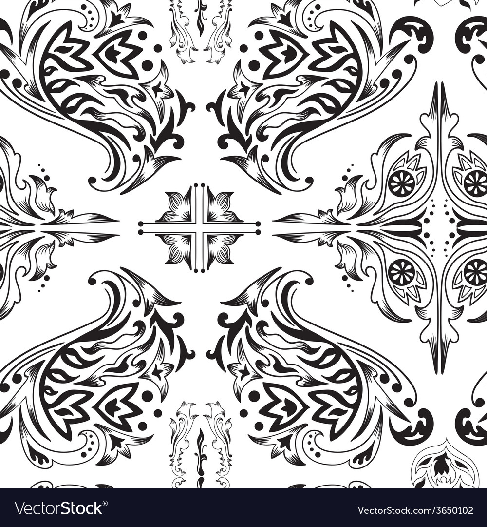 Black and white arabic pattern