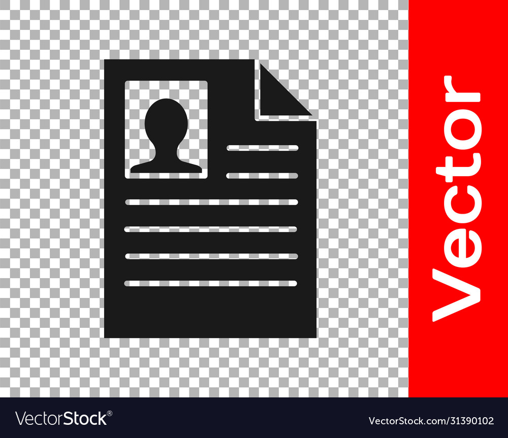 Black Resume Icon Isolated On Transparent Vector Image