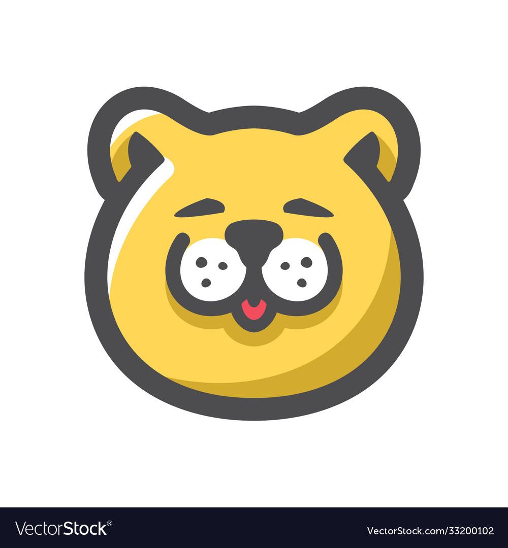 Cat face yellow icon cartoon