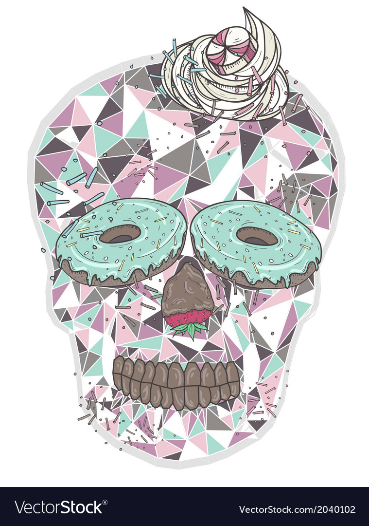 Cute skull with donut eyes and whipped cream hair vector image