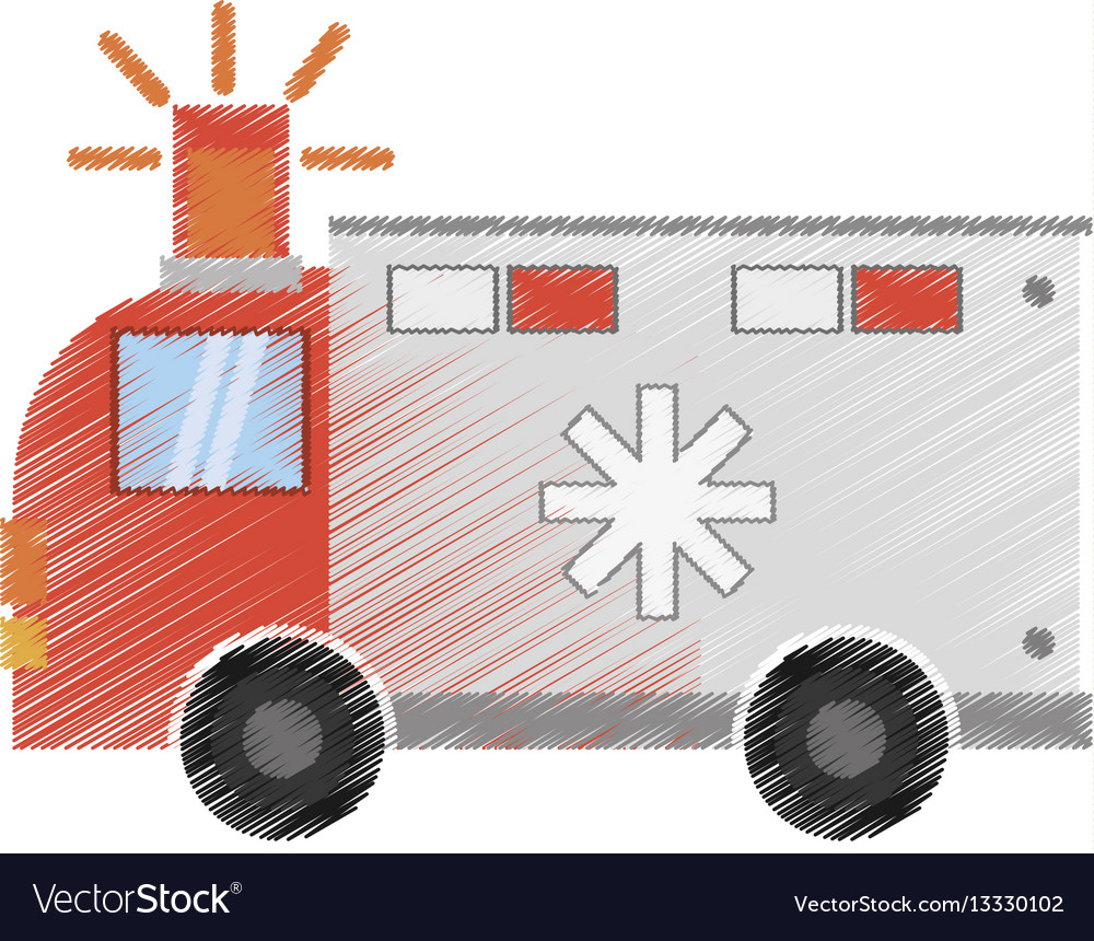Drawing ambulance transport emergency vector image