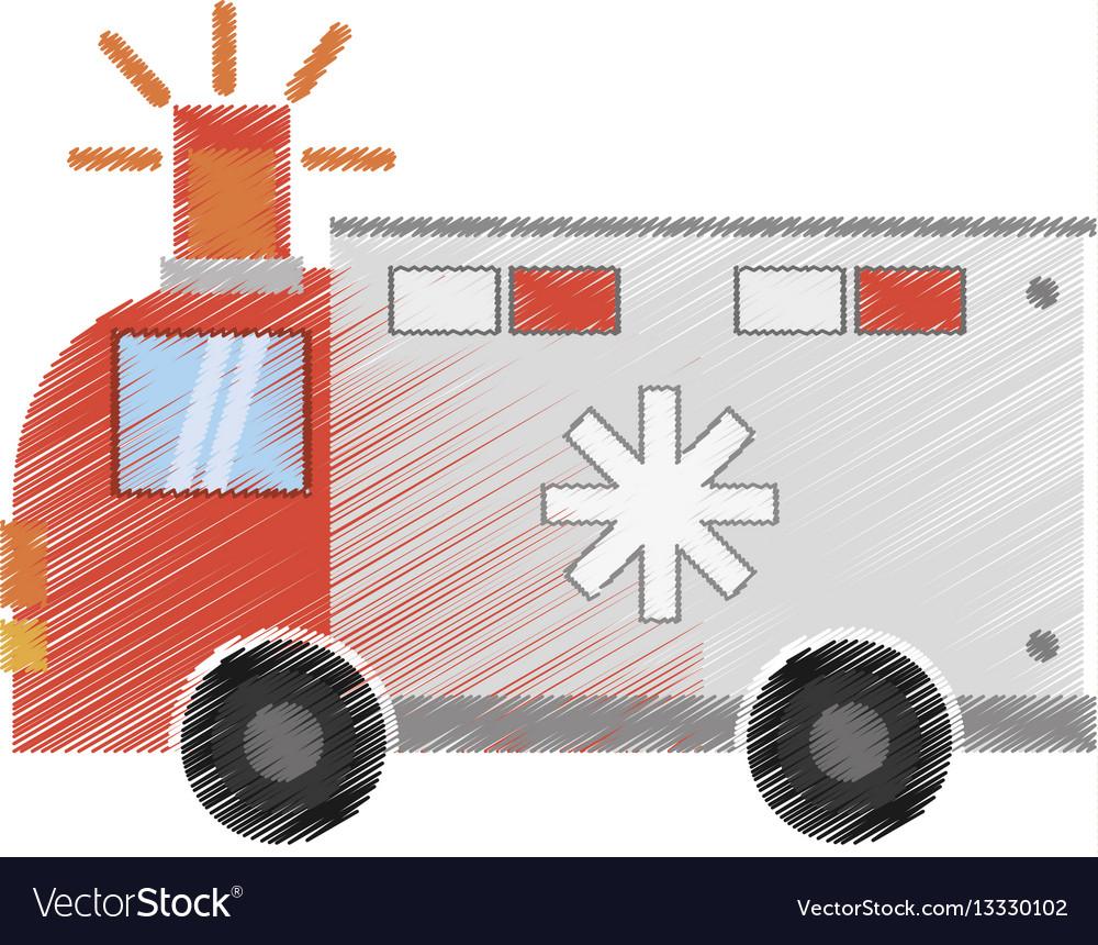 Drawing ambulance transport emergency