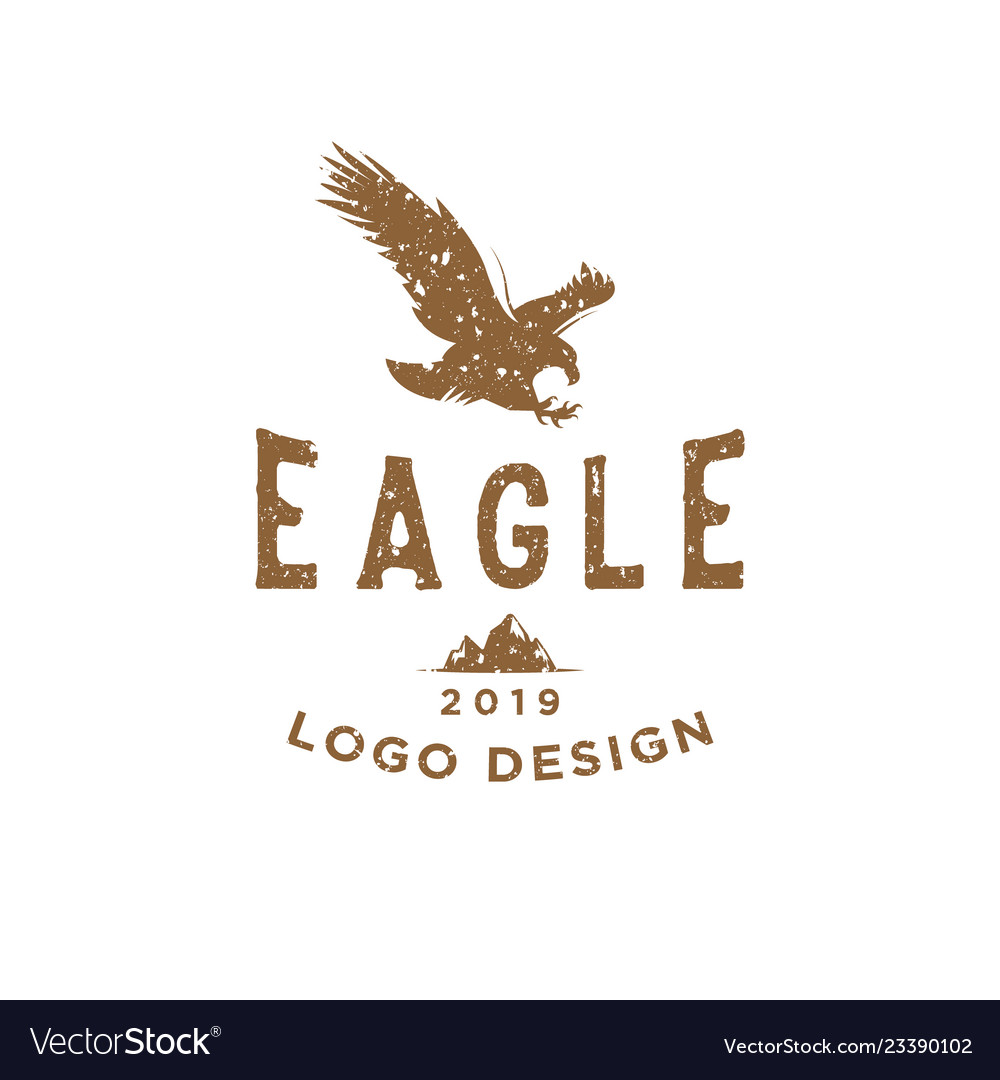 Eagle vintage logo design inspiration with rough