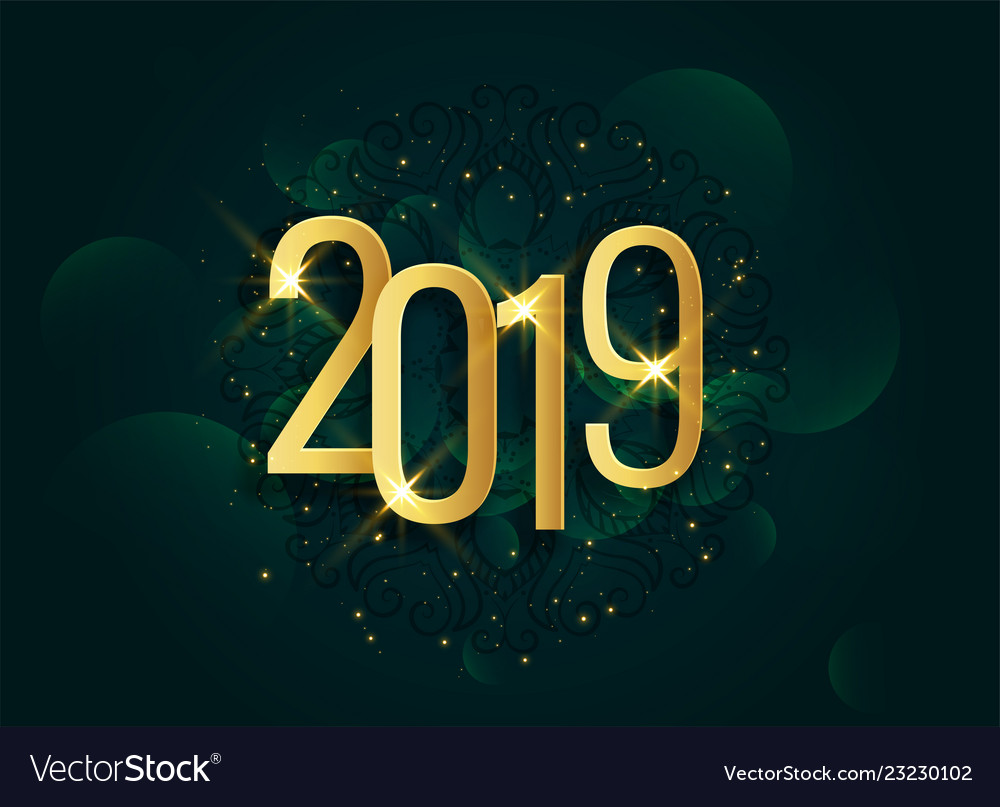 Golden 2019 3d shiny new year background
