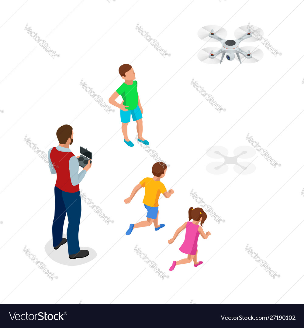 Isometric father with children launches a drone