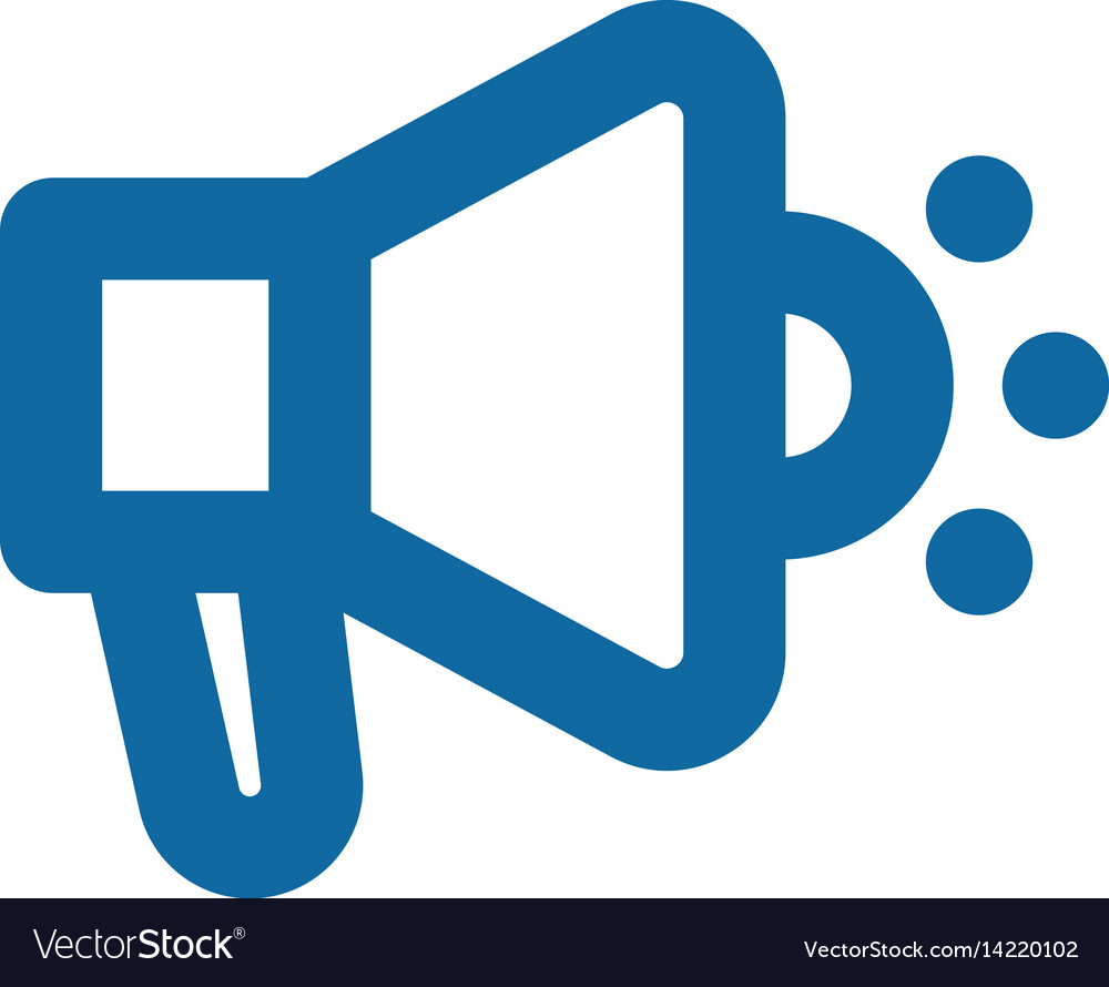 Megaphone icon bold lines blue clear