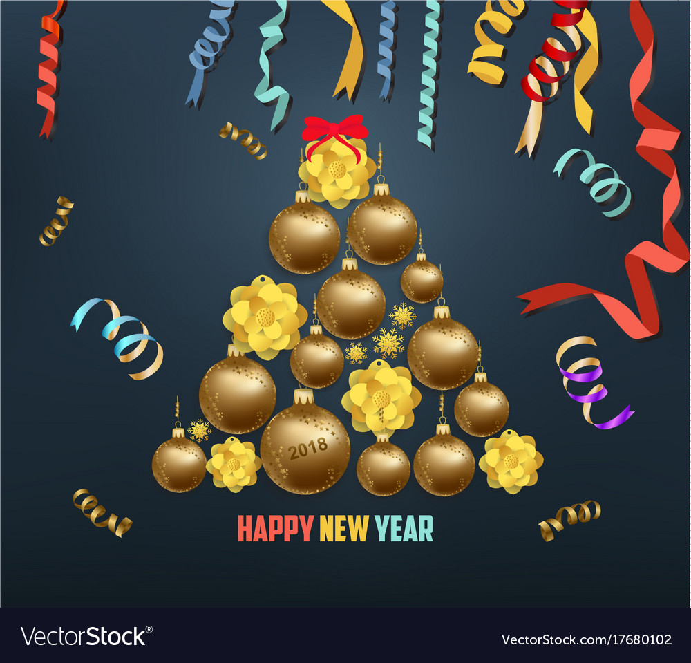 Merry christmas and happy new year 2018 blooming vector image