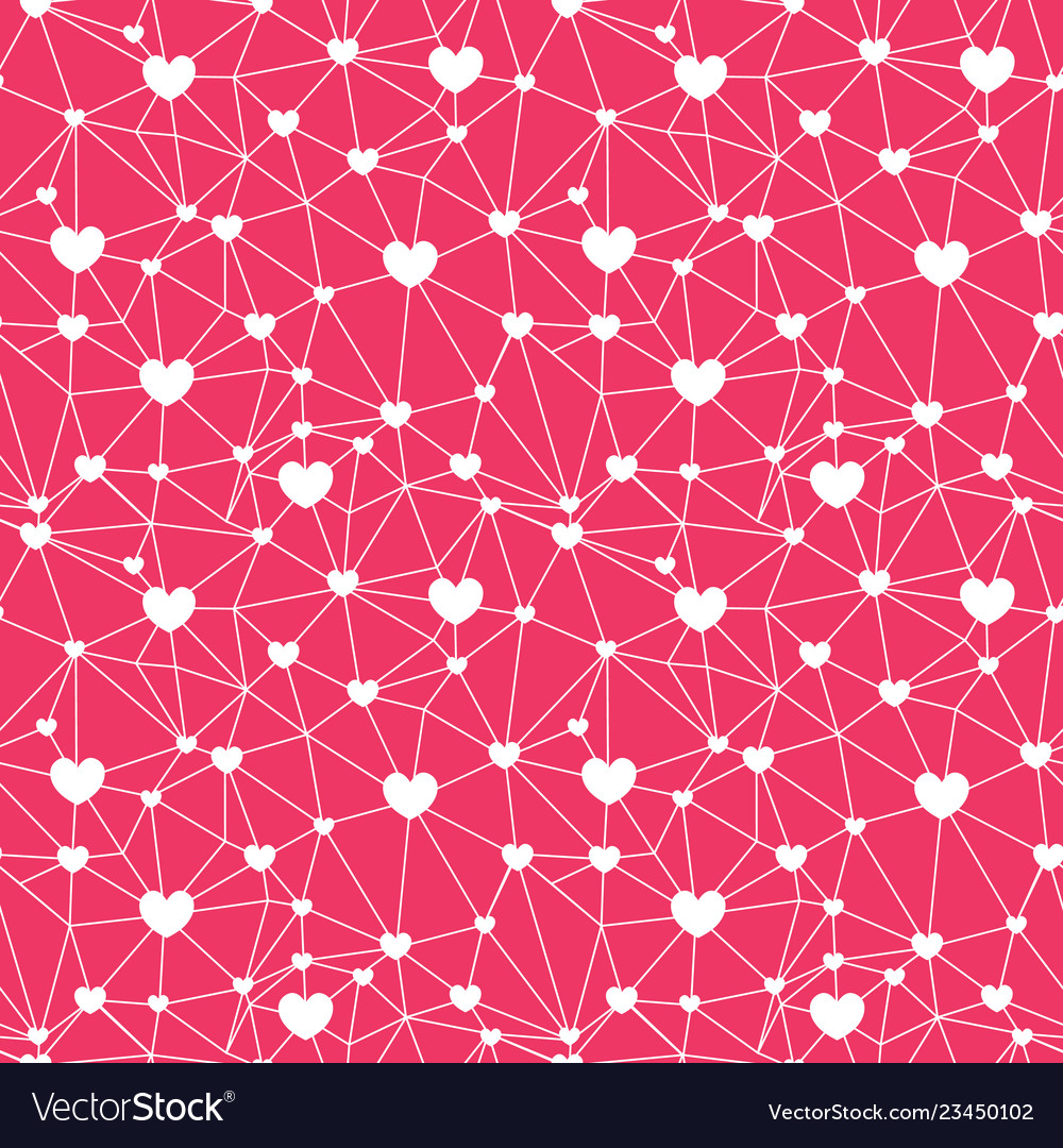 Red web of hearts seamless repeat pattern