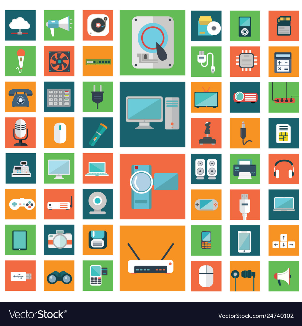Set modern flat electronic devices icons
