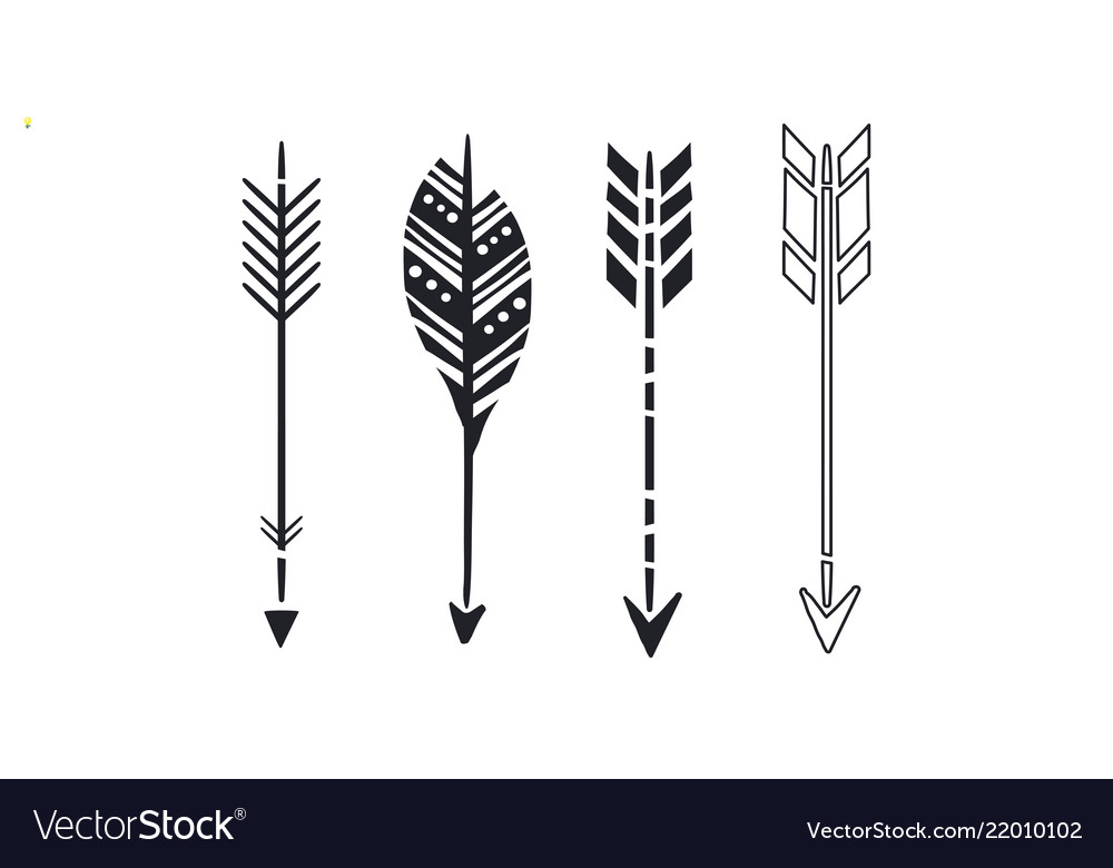 Set of 4 black hand drawn arrows simple hipster