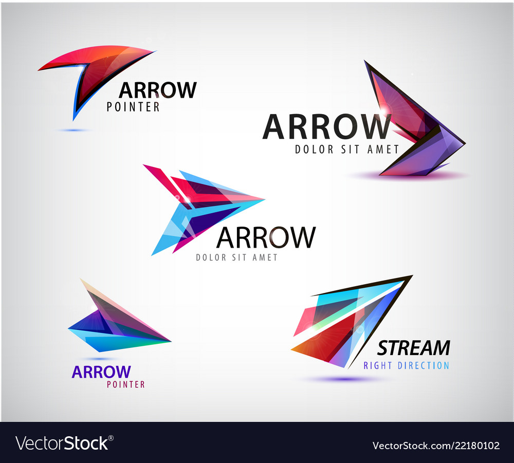 Set of abstract logos arrows pointers