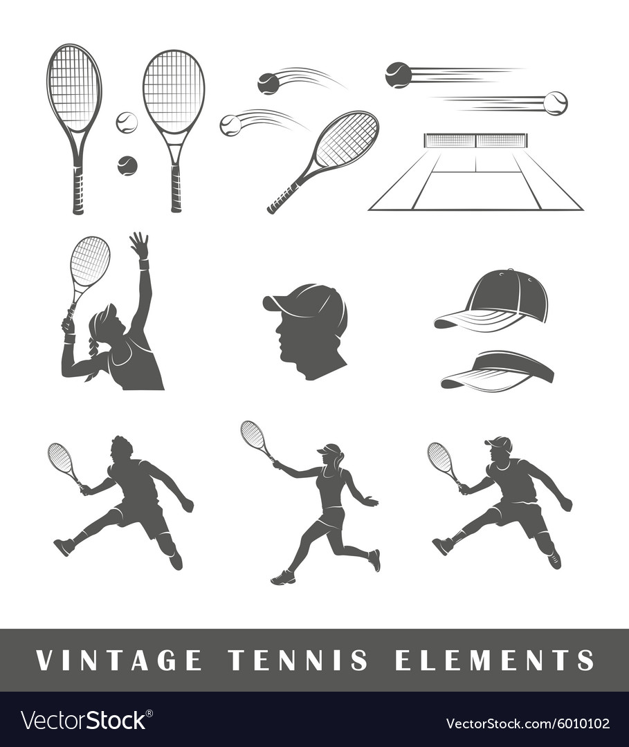 Set tennis silhouettes
