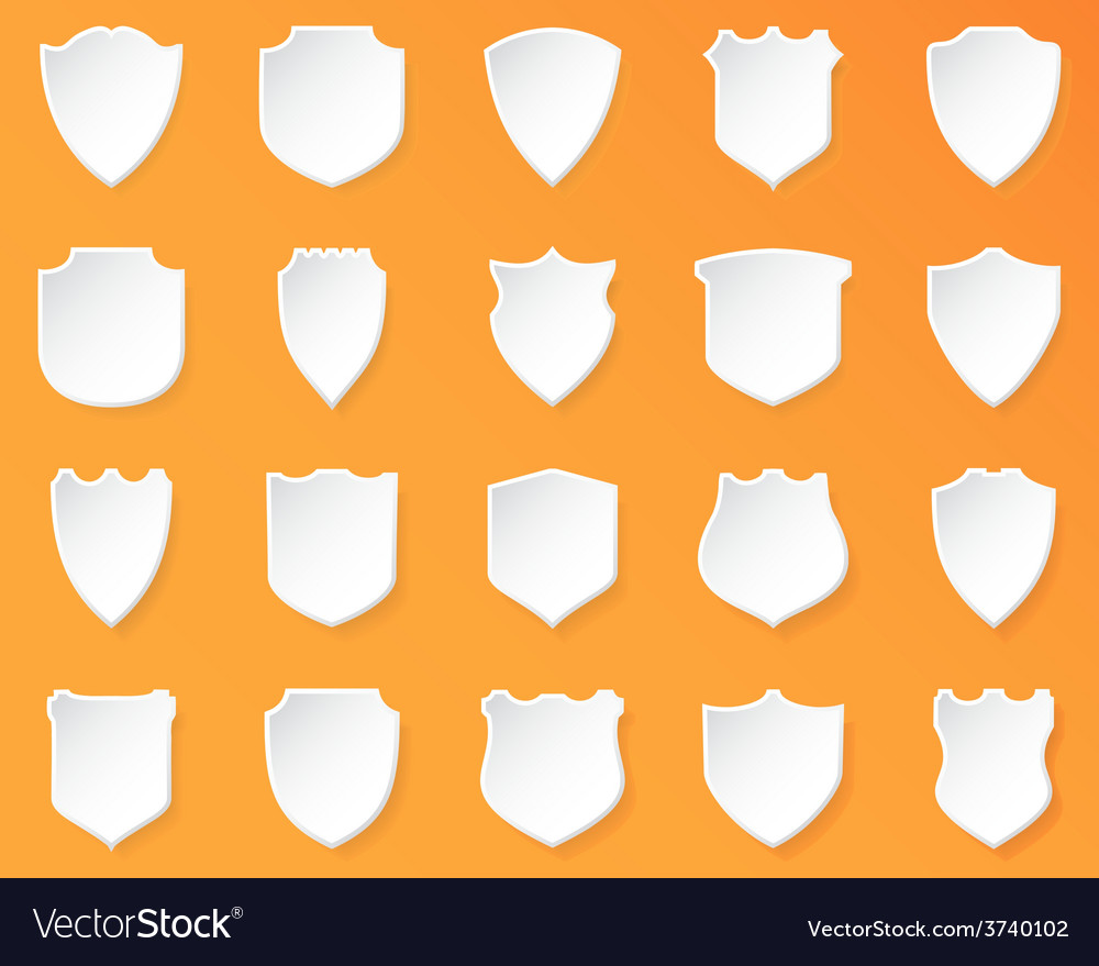 Shiny White Shields on a Orange Background