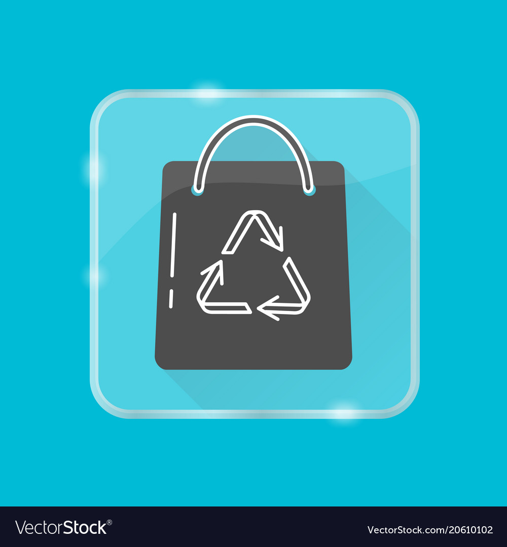 Shopping bag silhouette icon in flat style on