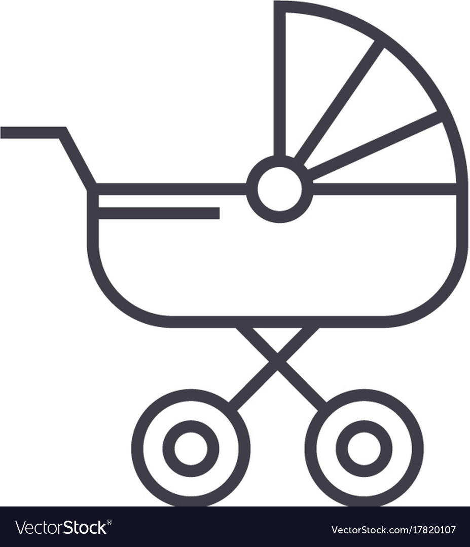 Baby carriage line icon sign