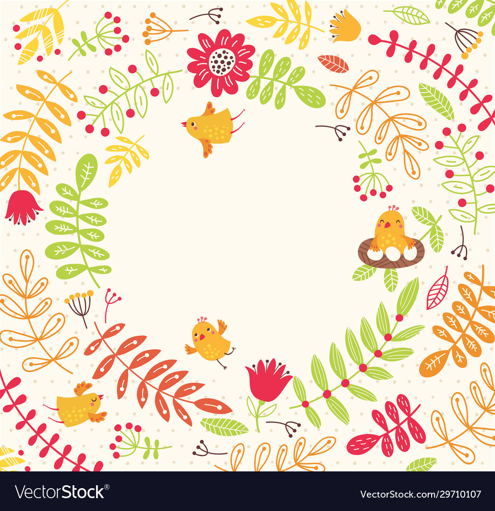 Birds on a floral background cute frame for text