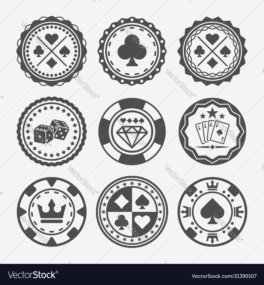 Casino and poker chips round badges