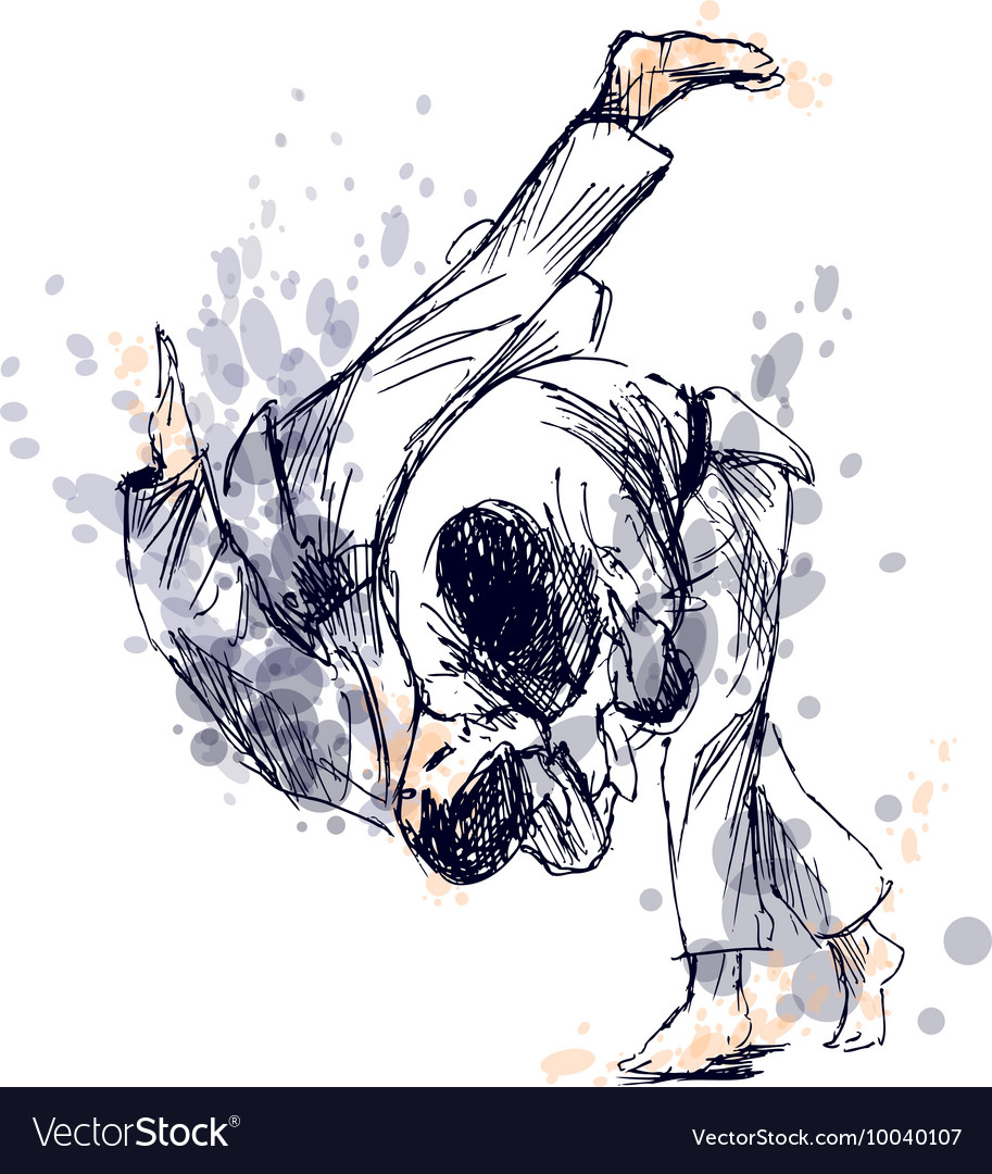 Colored hand sketch fighting judo