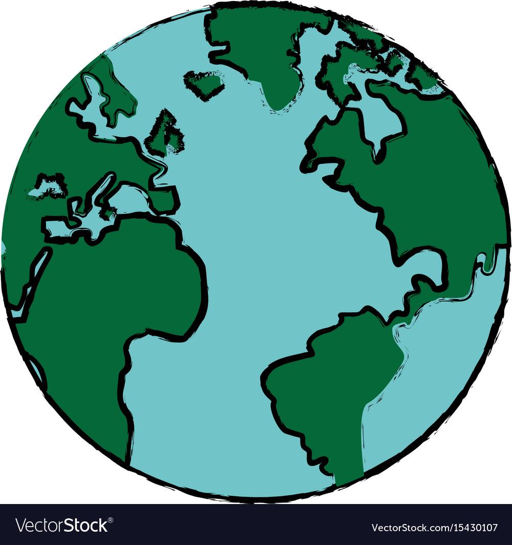Drawing Global World Earth Map Atlas Royalty Free Vector
