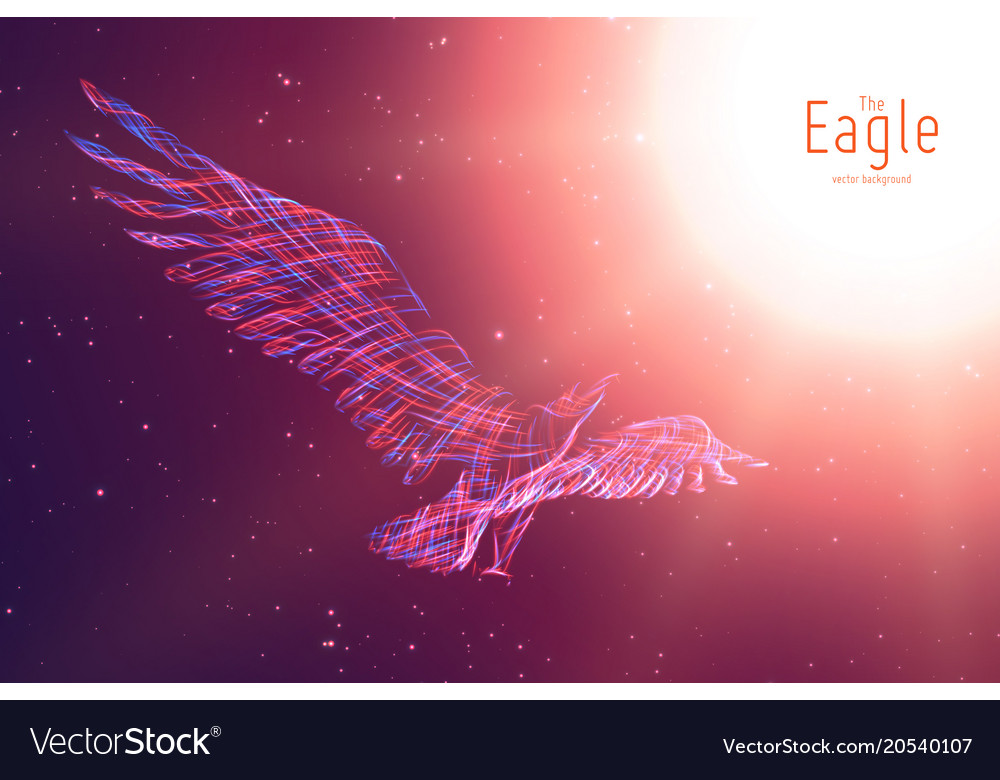 Eagle in flight to the sun from abstract