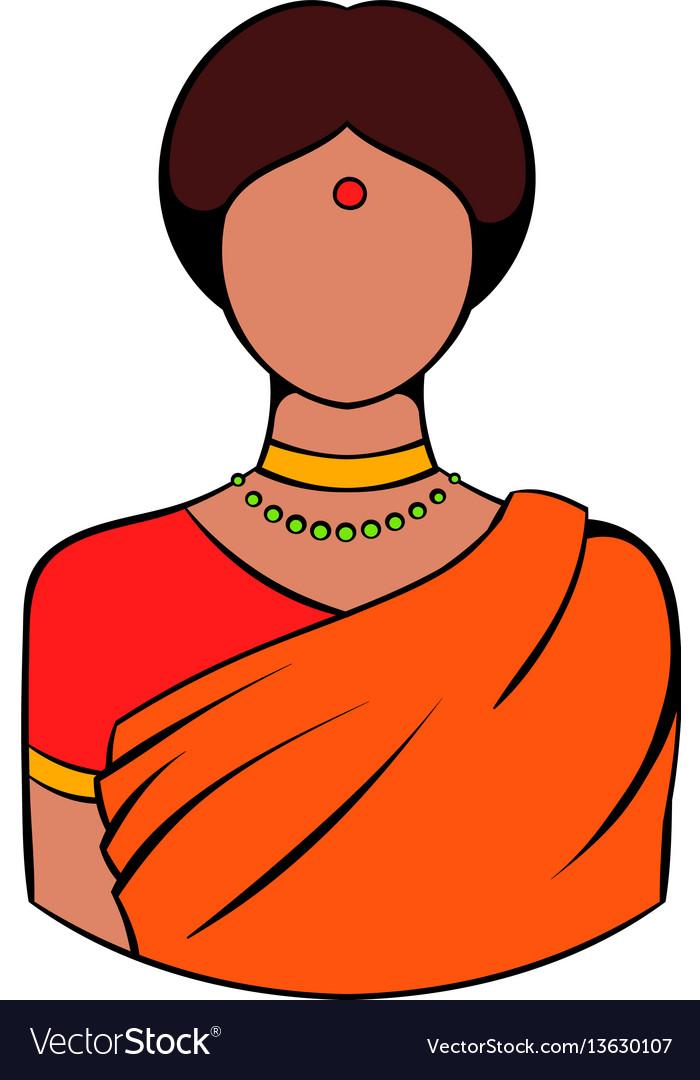 Indian woman in traditional indian sari icon