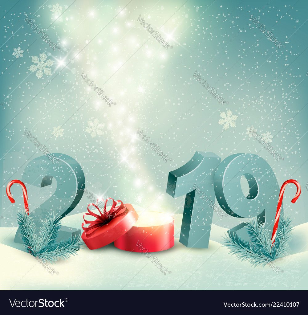 2019 Christmas Background Merry christmas background with 2019 and magic box