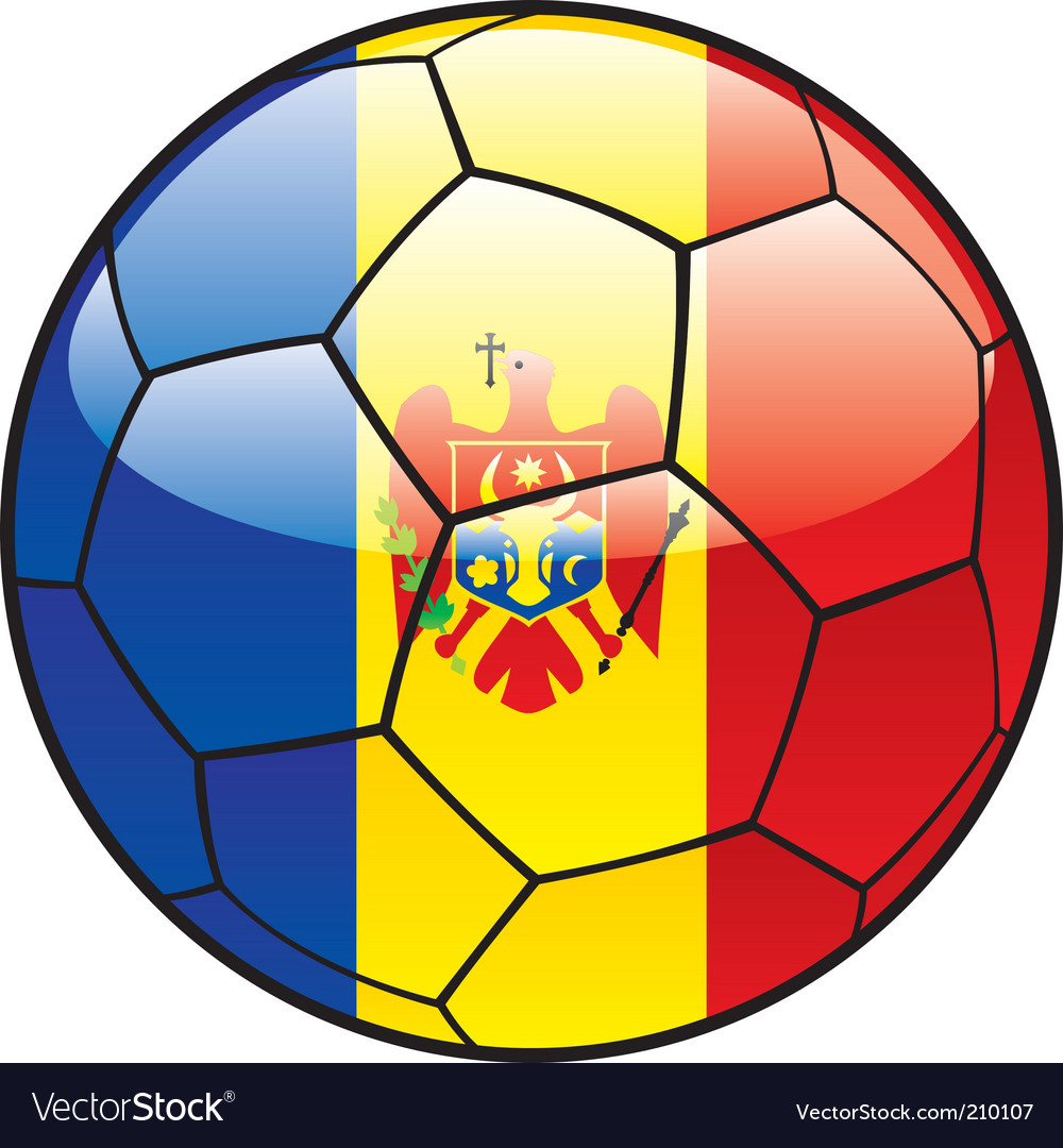 Moldova flag on soccer ball vector image