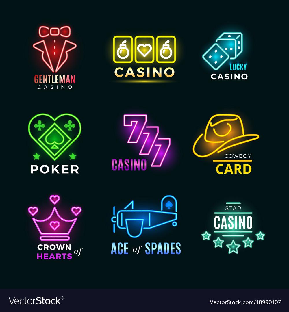 Neon light poker club and casino signs set