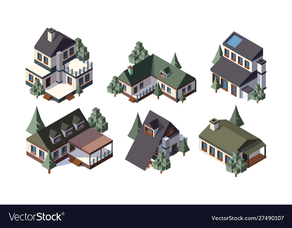 Private country houses isometric